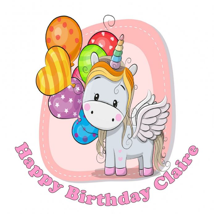 Birthday Unicorn Edible Cake Topper